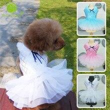 Модное летнее стильное Сетчатое платье для собак с блестками; платья принцессы для собак; юбка из пряжи для домашних животных; одежда для S-XXL