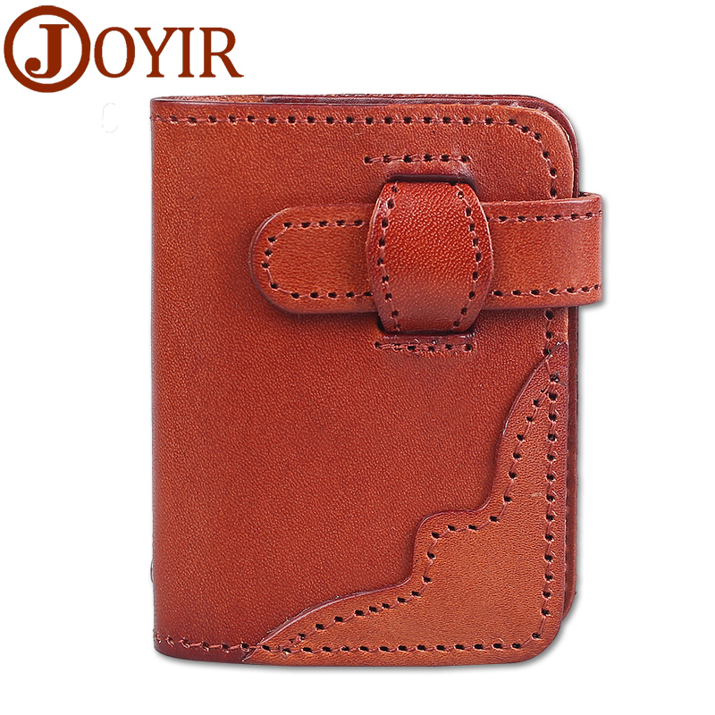 JOYIR Genuine Leather credit card holder floral purses wallet slim card case small pocket bag for