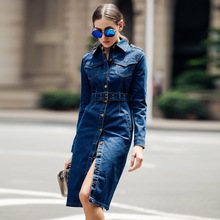 Women Slim Denim Dress  Feminino Single-Breasted Button Jeans Dresse Long Sleeve Vintage Casual Mid-Calf pencil Dress With Belt цена