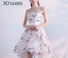 Xnxee Strapless Pleat Lace Up High-low Asymmetry Vintage Elegant Flowers Taffeta Gown Dancing Party Dresses