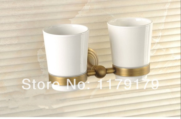 copper antique bathroom cup & tumbler holder, double toothbrush holder bathroom accessories 706 image