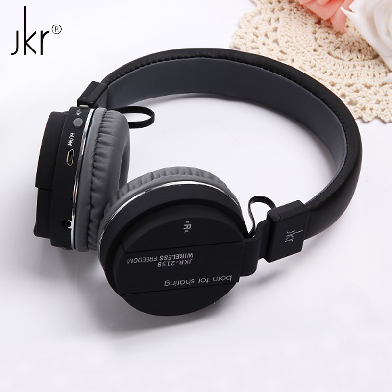 JKR-215B Brand Luxury Stereo Surround Sports Wireless Bluetooth Headset Headphone with Mic FM Radio TF Card AUX for Smart Phone 2017 new high end wireless bluetooth headphone stereo headset for iphone samsung xiaomi fm radio tf card mic aux mp3 lcd display