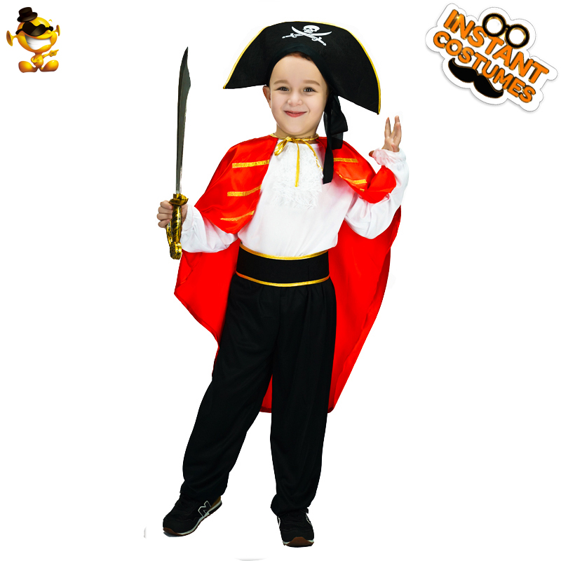 DSPLAY New Arrival Kids Red Cape Set Pirate Costume High Quality Cute Pirate Outfits For New Year Cosplay Party Boys Suit