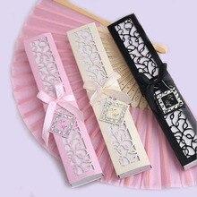 Éventail pliable personnalisé en soie pour danser avec coffret cadeau, cadeaux de fête, 30 pièces/lot