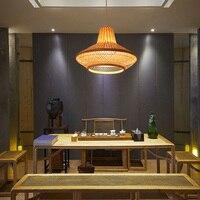 SGROW Bamboo ручной вязки абажур с плоской свет творческая страна подвесной светильник в стиле АР деко для Гостиная Обеденная Lampara