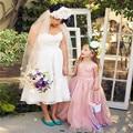 Cheap Organza Long Flower Girls Dresses 2016 First Communion Dresses With Bow A-Line Little Girls Kids/Children Dress