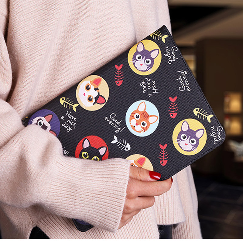 Tablet protective case For ipad pro 10.5 Flip smart stand cover pu leather Cute cat Cartoon illustration Case For ipad pro 10 (12)