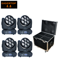 Flight case 4in1 packed 4pcs/lot 7x12W RGBW Mini LED Moving Head Beam Light DMX512 15Ch 8 Degree Beam Degree Moving Head Beam