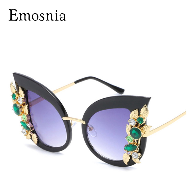 Emosnia Fashion Ladies Rhinestone Cat Eye Solglasögon Dam Designer Sexy Shade för Kvinnlig Sun Glasses Luxury Black Pink Color