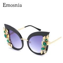 Emosnia Fashion Ladies Rhinestone Cat Eye sunglasses Women Designer Sexy Shade for Female Sun Glasses Luxury Black Pink Color