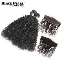 Juodojo perlo spalva iš anksto atspalvio Brazilijos Kinky Curly Nėriniai Frontalo uždarymas su ryšuliais Non Remy 3 paketai su 13x4 Nėriniai Frontal