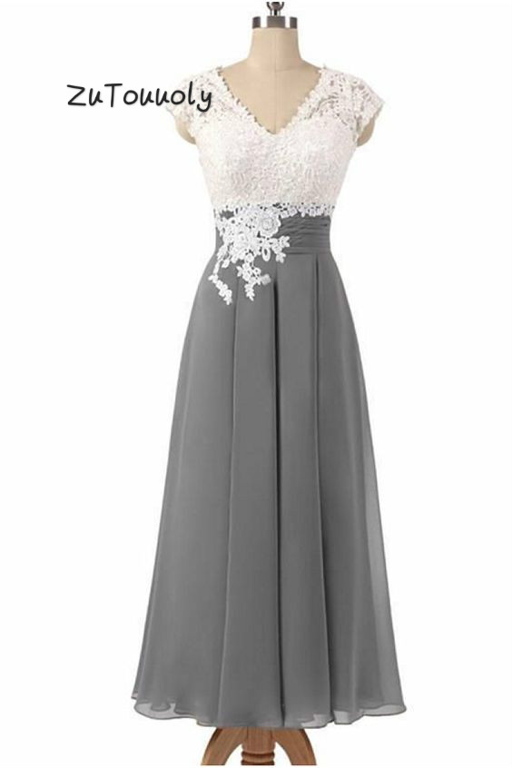 Godmother's Dress Gray Chiffon Summer Mother Of The Bride Dresses V Neck Lace Open Back Tea Length Short Mom Kurti For Women