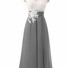 Godmother's Dress Gray Chiffon Summer Mother Of The Bride Dresses V Neck Lace Open Back Tea Length S