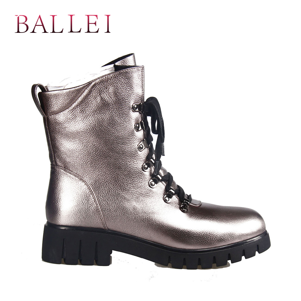 BALLEI Mode Frau Winter Ankle Boot Vintage Luxus Echtem Leder Retro Runde Kappe Schuh Weiche Niedrigen Ferse Lace up zipper Boot B13-in Knöchel-Boots aus Schuhe bei  Gruppe 2