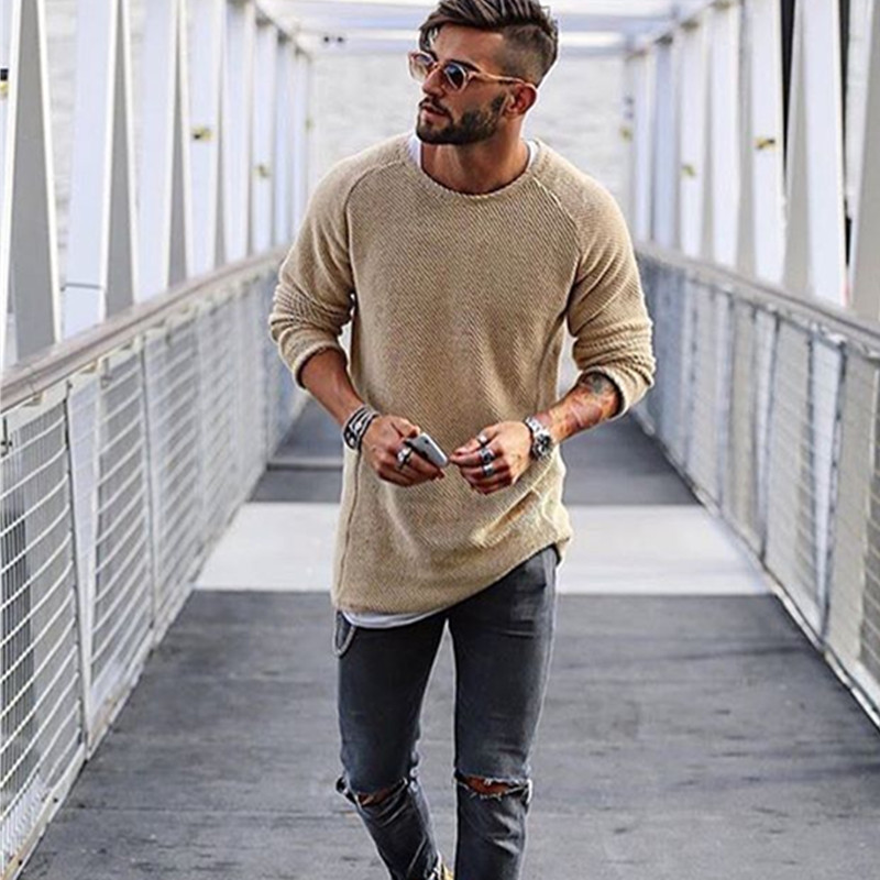PASATO New Men Autumn Winter Casual O-Neck Plus Size Print Shirt Long Sleeve Blouse