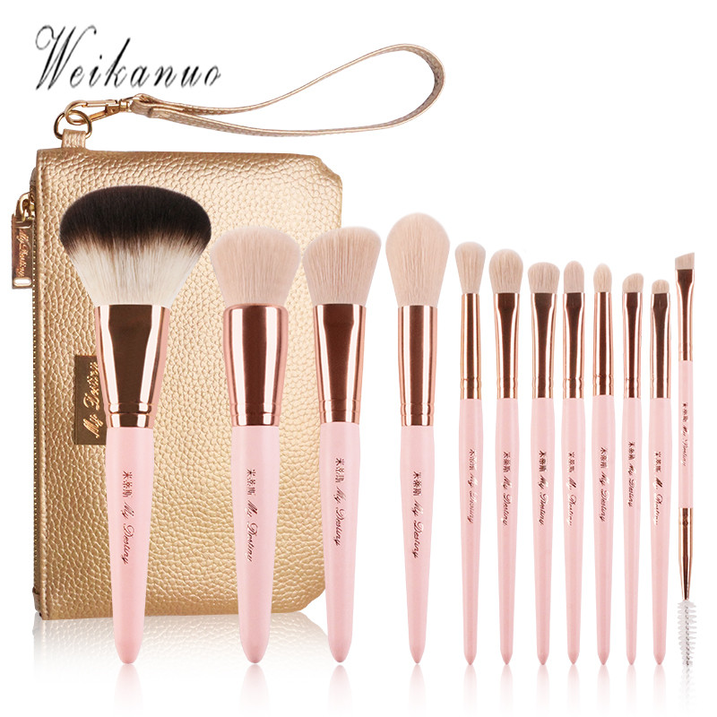 цена на 12PCS Professional Makeup Brushes Set High Quality Make Up Brushes Bag Eye shadow Blush brush Plant fiber Make-up Tool Kit