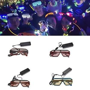 Cool LED Glasses Light Up Shades Flashing Luminous Rave Night Christmas Activities Wedding Birthday Party Decoration 4 Colors