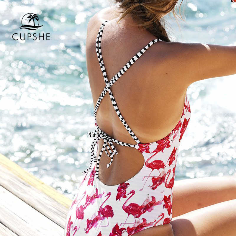 710737587463f1 ... CUPSHE Flamingo Free To Fly Print One-piece Swimsuit Women Deep V neck  Back Cutout ...