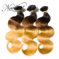 NEW STAR 3 Pieces T1B/4/27 Black Root Brown Blonde Bundles Ombre Body Wave Salon Supplies Remy Human Hair Extension Hair Weave