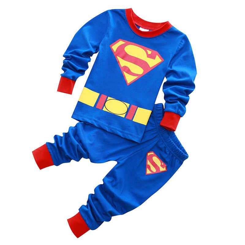 2 pçs crianças pijamas bebê menina e meninos roupas homem de ferro homem de aranha pijamas bebê meninos meninas dos desenhos animados manga longa t-shirt + calças conjuntos