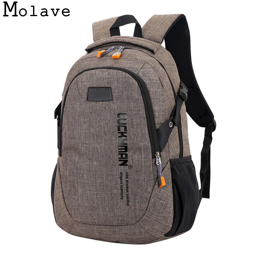 MOLAVE Backpack new casual canvas Travel Unisex laptop Designer student school bag anti theft backpack waterproof Jan3 new style school bags for boys