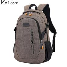 MOLAVE plecak nowy casual płótno Travel Unisex laptop Designer student School Bag Anti Theft plecak wodoodporny Jan3 tanie tanio School Bags Stałe Płótnie 50cm Zamek 500G 30cm 15cm Chłopców Plecak płótno torba podróżna plecaki Unisex torby na laptopa Designer Stud