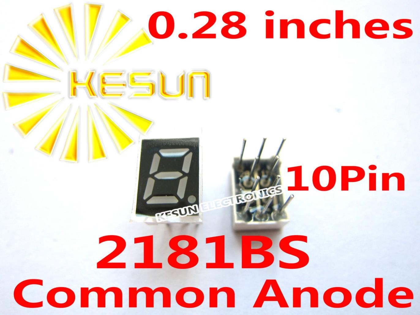 100PCS X 0.28 Inches Red 2181AS 2181BS 10Pin Common Anode/Cathode Single Digital Tube LED Display Module
