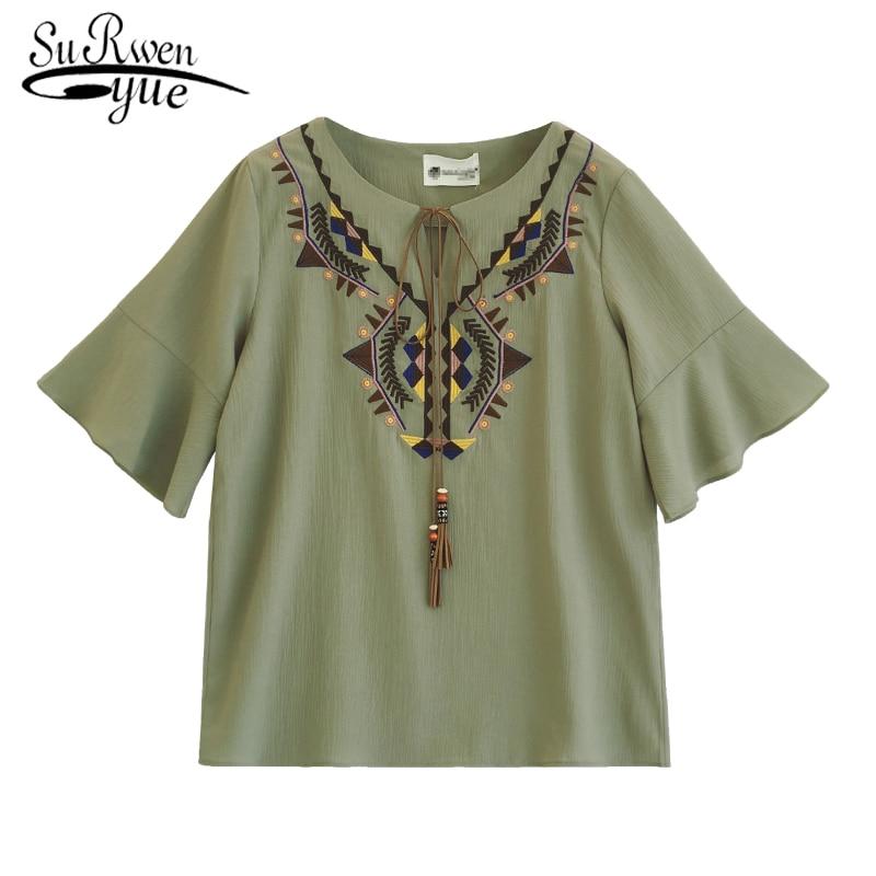 0a0cab3855a Летние шифоновые модные женские блузки 2018 короткий рукав для женщин  рубашка свободные flare рукавом плюс размеры