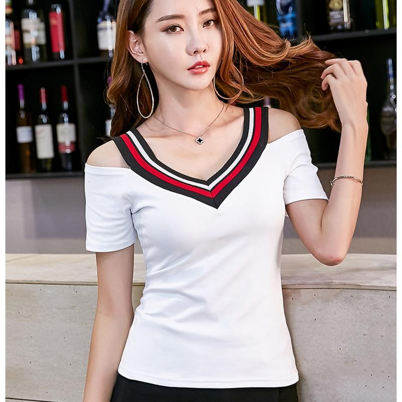 Sexy V Neck T Shirt Frauen 2019 Sommer Koreanische Mode T-shirt Weibliche Liebsten Patchwork Weiß T-shirt Kurzarm Damen Tops Husten Heilen Und Auswurf Erleichtern Und Heiserkeit Lindern Gepäck & Taschen