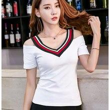 60f3c86b4dc Sexy col en V T-shirt femmes 2019 été mode coréenne T-shirt femme sans  bretelles Patchwork blanc T-shirt à manches courtes dames.