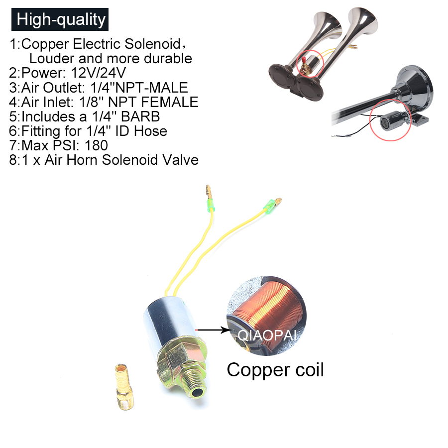 Horn Solenoid Wiring Schematic Diagram Dual Tone Train Circuit Superior Quality Copper Valve 12v 24v Universal Air 1 Relay