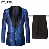 PYJTRL 4XL Gentleman Classic Shawl Collar Royal Blue Floral Pattern Suits Dinner Party Men Groom Wedding