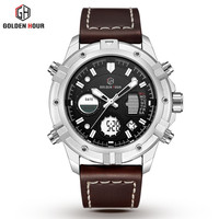 GOLDENHOUR Fashion Luxury Original Brand Men Waterproof Military Sport Watches Men's Quartz Analog Wrist Watch Relogio Masculino