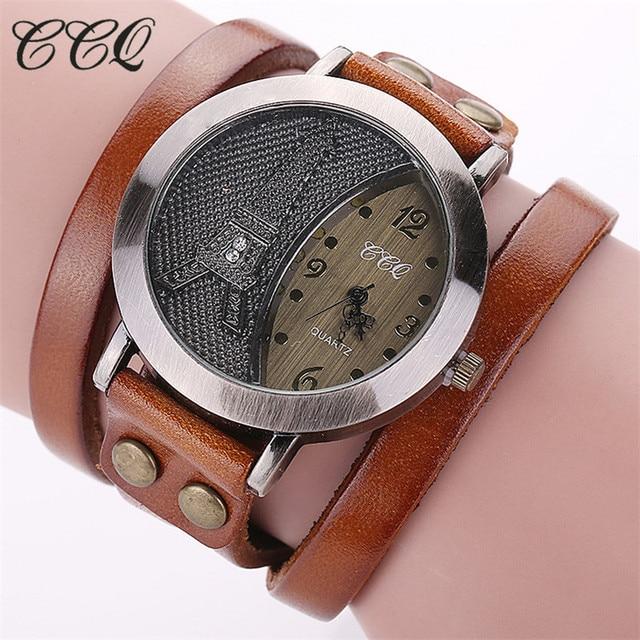 f013b440320 CCQ Hot Relógios Pulseira de Couro Vintage Antique Torre Eiffel Mulheres  Relógio Moda Relógios de Quartzo