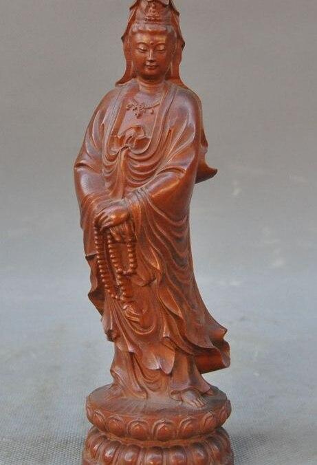 China Old Boxwood Hand-Carved Buddhism Joss Kwan-yin Guanyin Bodhisattva Statue