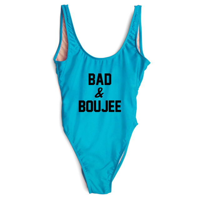 e067c8d742166 2018 Swimwear Women Sexy One Piece Swimsuit Lady New Letter BAD   BOUJEE Party  Bodysuit Plus Size Beach Wear Swim Suit maio Pink