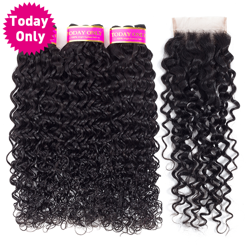 TODAY ONLY Peruvian Water Wave Bundles With Closure Remy Human Hair Bundles With Closure Peruvian Hair 3 Bundles With Closure