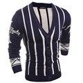 2016 Новых осенью и зимой мужская заклинание цвет вертикальная полосатый вязать V-образным Вырезом кардиган свитер Моды для мужчин Пуловеры Шерсти Свитера