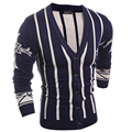 2016 New autumn and winter men's  spell color vertical striped knit V-neck cardigan sweater men Fashion Pullovers Wool Sweaters