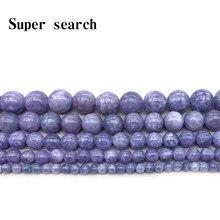 Contas de pedra natural lavanda ametista, cristal roxo solto, contas pulseira mulher para fabricação de jóias tamanho 4 6 8 10 12mm 15