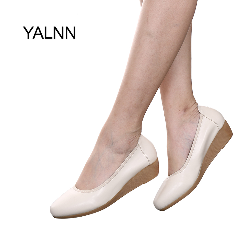 YALNN Women Flats Shoes Leather 1.5cm/3cm/5cm Heels Women Flats Platform Shoes Pointed Toe Flats Leather Girl Shoes