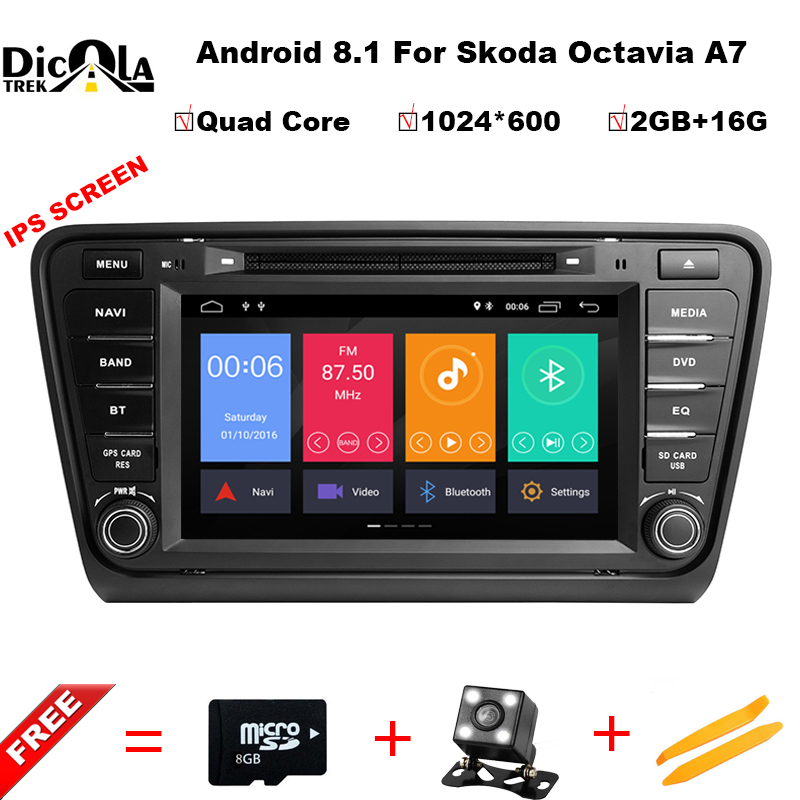 IPS HD 8 2 din Android 8.1 Car DVD Player GPS Navigation For Skoda Octavia 2014-2017 A7 Radio Stereo Multimedia car pc 2G RAM car dvd gps android 8 1 player 2din radio universal wifi gps navigation audio for skoda octavia fabia rapid yeti superb vw seat