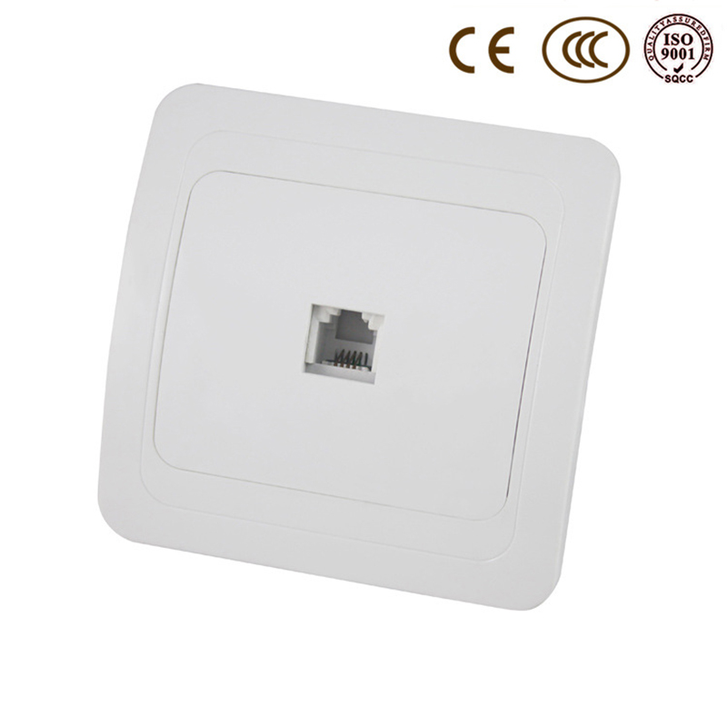 Wall Telephone Socket, EU / Russia Standard Tel Outlet, Ivory White, AC 110~250V