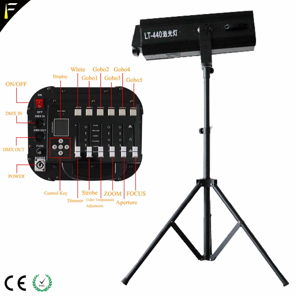 Dimming Follow Spot Light LED 440 W Strobe Theater Spotlights With Display Fades DMX Control Professional Spot Follow Lighting
