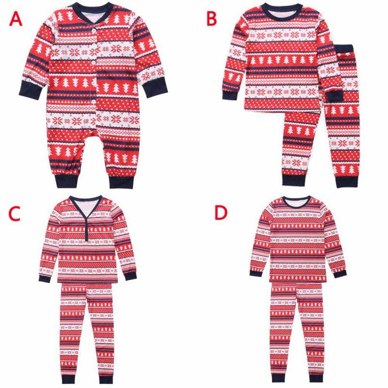 Famille correspondant noël à manches longues pyjamas ensembles femmes hommes bébé enfants famille noël arbres imprimé vêtements ensembles