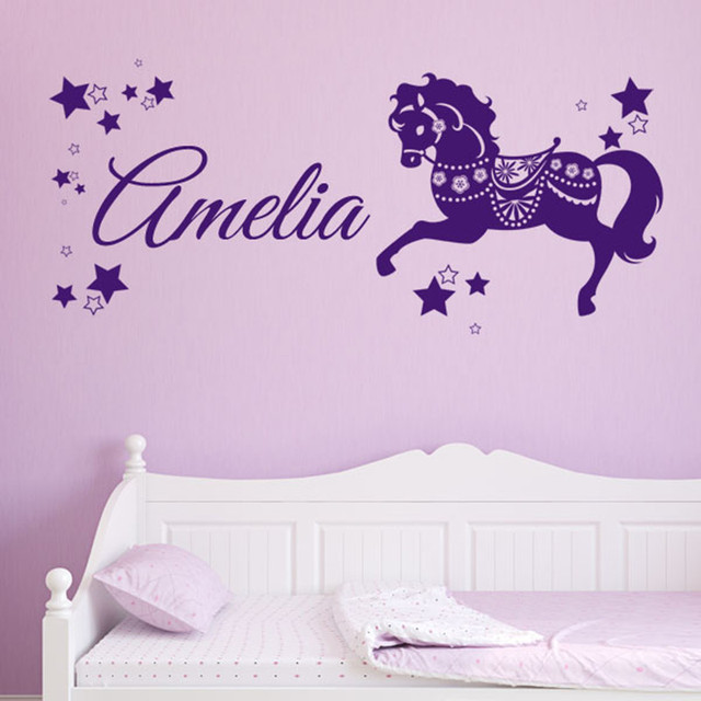 Purple Color Beautiful Star Decor With Horse Running Wallpaper Baby Room Wall Paper Personalised Children S