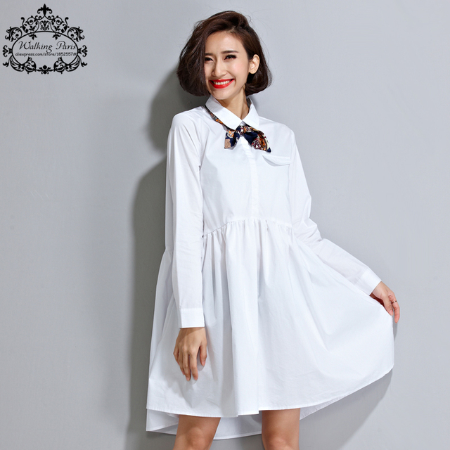 Plus size vestido 2016 primavera senhora blusa branca pura cor das mulheres partes superiores & t oversize solto moda casual doce senhora clothing