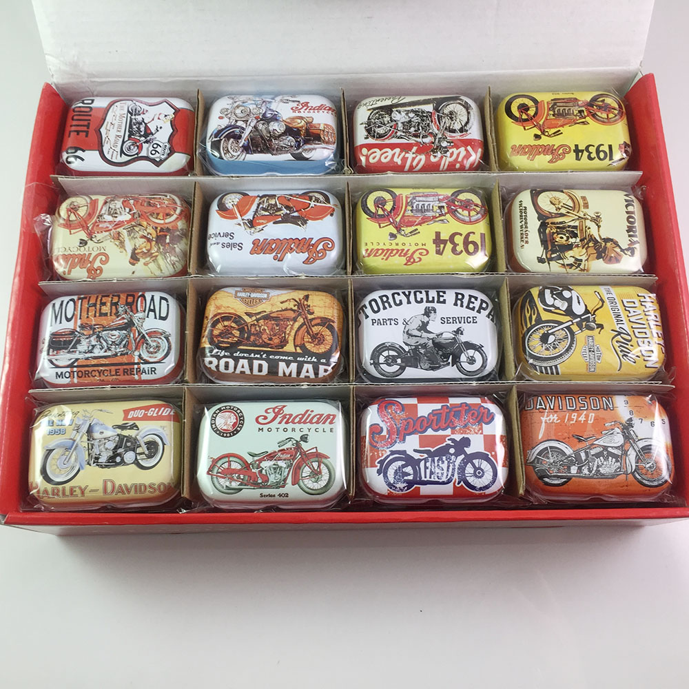 16pcs/lot Personalized Christmas Gifts Toys for Boys Small Motorcycle Pattern Tea Cookies Storage Box Candy Metal Tin Box