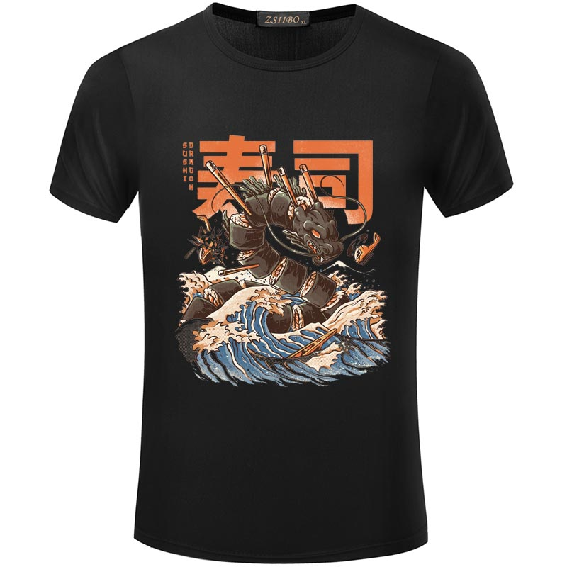 Cartoon Harajuku Great Sushi Dragon Print   T     Shirt   Men and Women Hip Hop Short Sleeve Tshirt Japanese Streetwear   T  -  Shirt   S5MC45 R