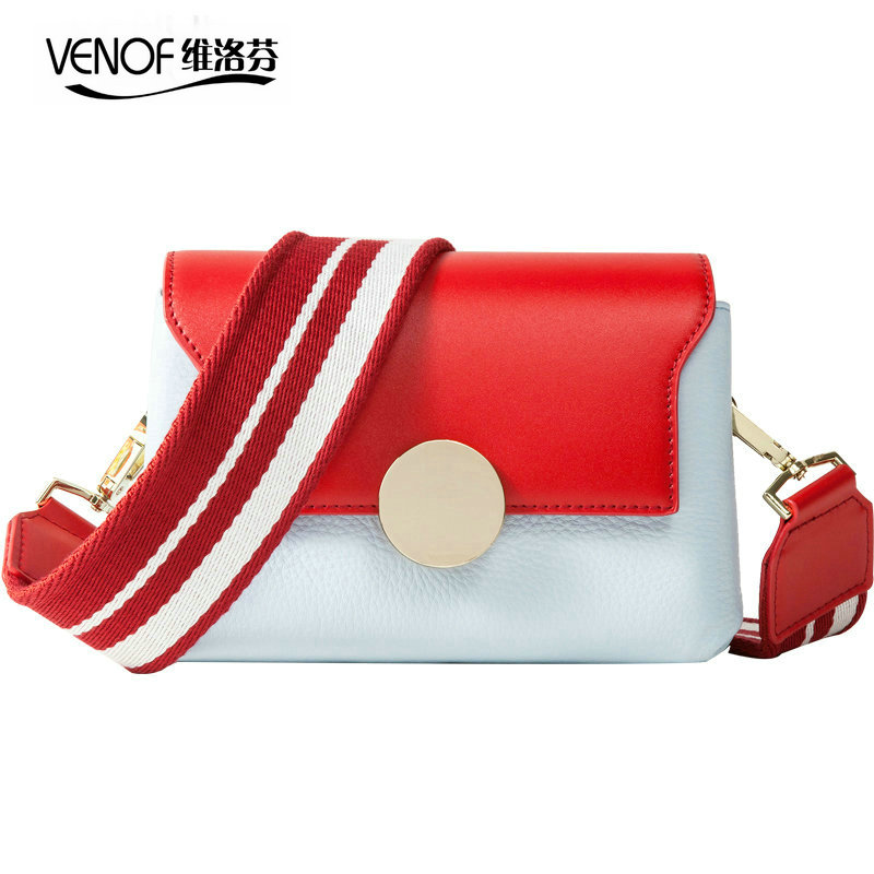 VENOF genuine leather women shoulder bags contrast color female Crossbody bags wide straps ladies bag fashion small square bags все цены